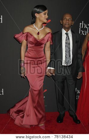 LOS ANGELES - DEC 11:  Rihanna, Lionel Braithwaite  at the Rihanna's First Annual Diamond Ball at the The Vineyard on December 11, 2014 in Beverly Hills, CA
