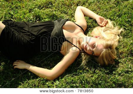 young beautiful blond girl outdoor