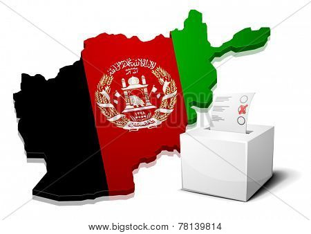 detailed illustration of a ballotbox in front of a map of Afghanistan, eps10 vector