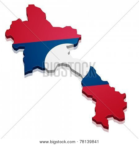 detailed illustration of a map of Laos with flag, eps10 vector