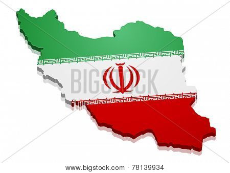 detailed illustration of a map of Iran with flag, eps10 vector