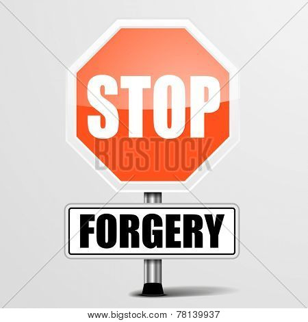 detailed illustration of a red stop Forgery sign, eps10 vector