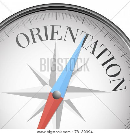 detailed illustration of a compass with orientation text, eps10 vector