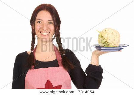 Housewife Holding Plate With Cauliflower