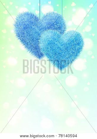 Blue fluffy hearts pair greeting card vertical template