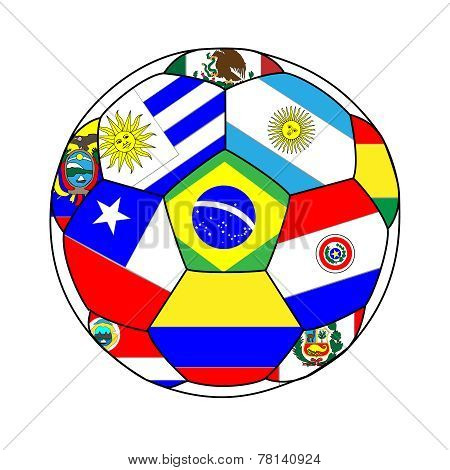 Football With South America Flags 2