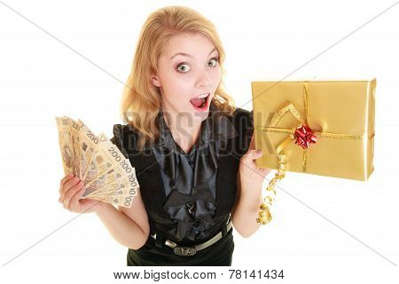 Woman With Gift Box And Polish Money Banknotes.