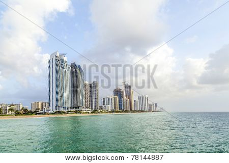 People At beach Pier In Sunny Isles Beach , Florida