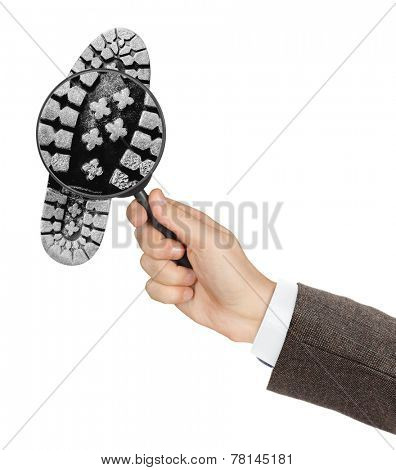 Magnifying glass in hand and shoe printout isolated on white background