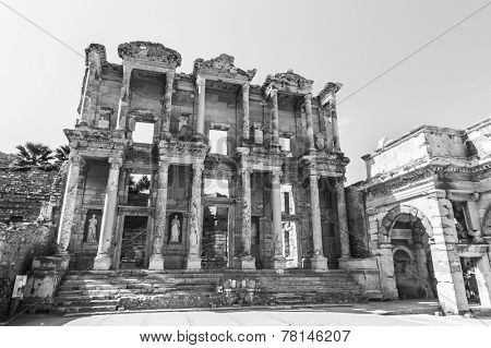 Ruins of Celsus Library in ancient Greek city Ephesus, Turkey. Black and white