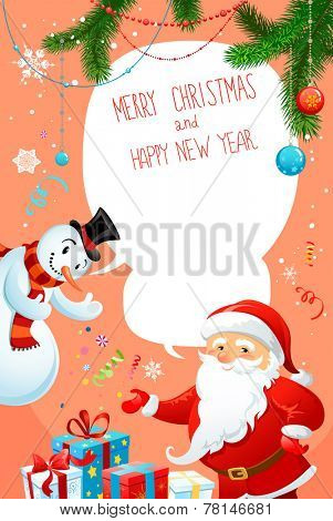 Happy holiday card with Santa Claus and snowman. Festive background with copy space.