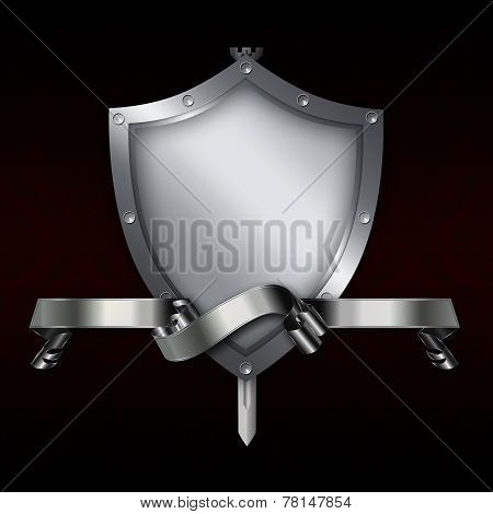 Medieval Shield With Sword And Silver Ribbon.