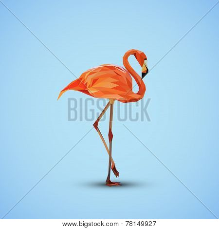 vector illustration of a pink flamingo in low-polygonal style