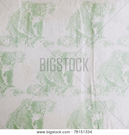 vector vintage illustration of a koala bear pattern on the old wrinkled paper texture