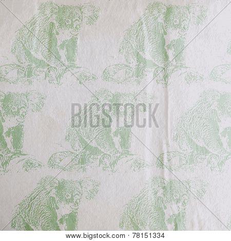 vector vintage illustration of a koala bear pattern on the old wrinkled paper texture