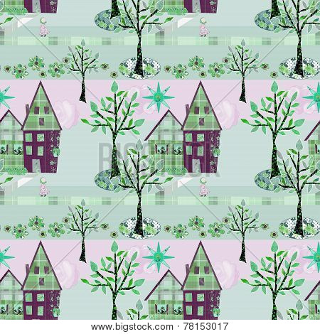 Seamless Background Of House And Tree Garden Patchwork Cutout
