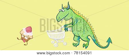 A Dinosaur Chasing The Cake With A Supermarket Trolley