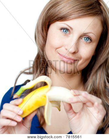 Bright Woman Holding A Bananna