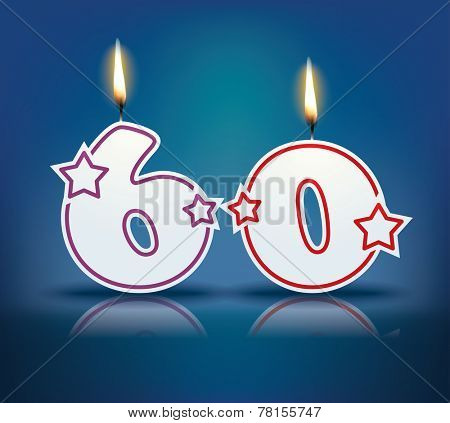 Birthday candle number 60 with flame - eps 10 vector illustration