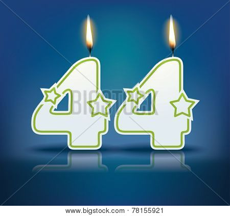 Birthday candle number 44 with flame - eps 10 vector illustration