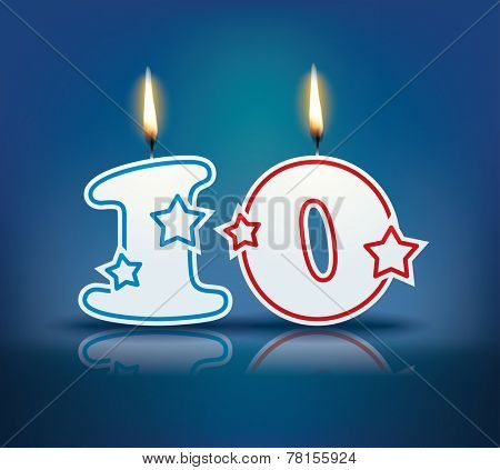 Birthday candle number 10 with flame - eps 10 vector illustration