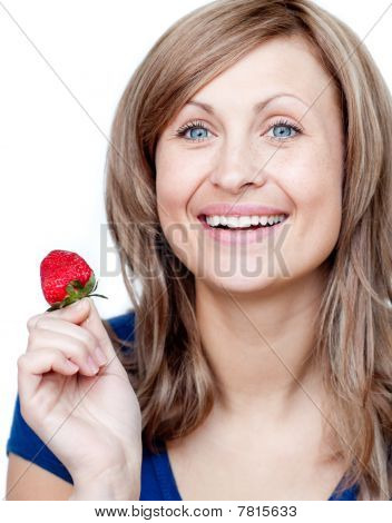Attractive Woman Eating Strawberries