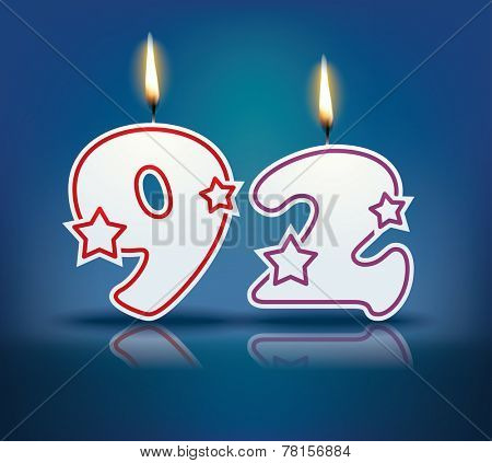 Birthday candle number 92 with flame - eps 10 vector illustration