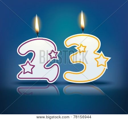 Birthday candle number 23 with flame - eps 10 vector illustration