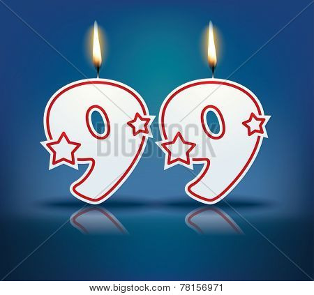 Birthday candle number 99 with flame - eps 10 vector illustration