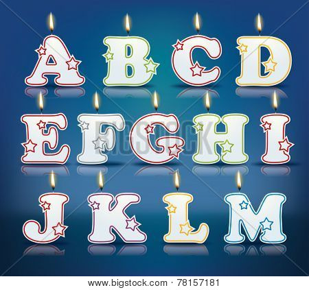 Candle letters from A to M with flames - eps 10 vector illustration