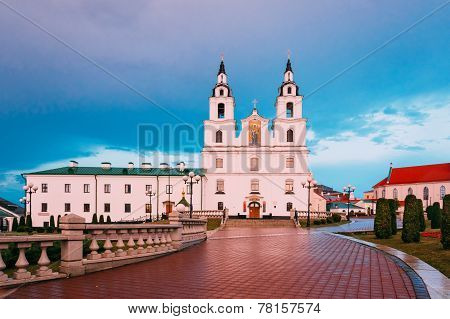 Cathedral Of Holy Spirit In Minsk, Belarus At Sunset Pink Light