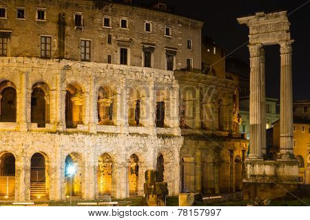 Theatre Of Marcellus At Night