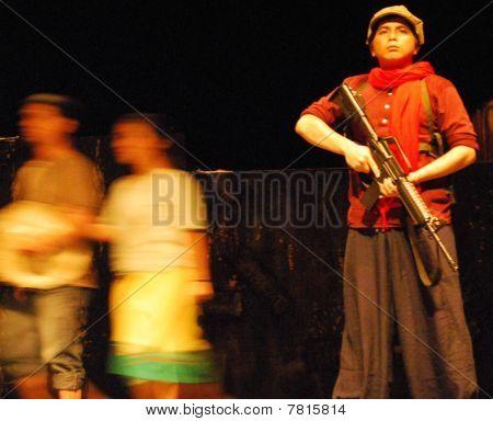 red guerilla stance