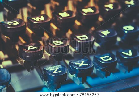 Close Up Of Antique Typewriter Keys. Old Manual Retro Keys, Vintage Keyboard.