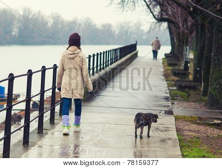 Teenage Girl Walking The Dog In Winter