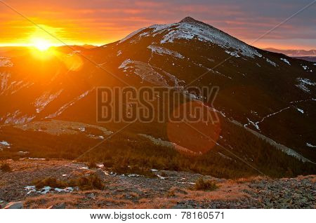 Rising Sun In Gorgany Mountains. Carpathians
