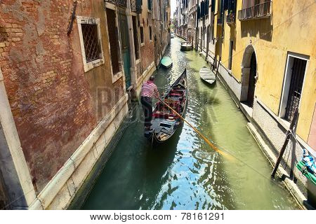 Scenic Canal With Gondola, Gondolier, Venice, Italy