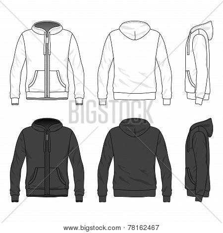 Front, Back And Side Views Of Blank Hoodie With Zipper
