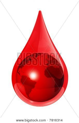 Earth Globe In A Blood Drop