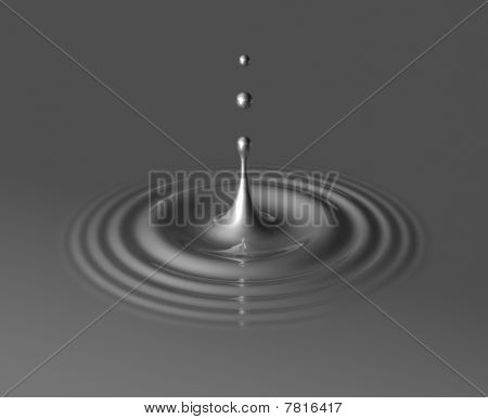 Drop Of Mercury And Ripple