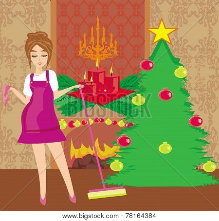 Housewife Cleaning House Before Christmas