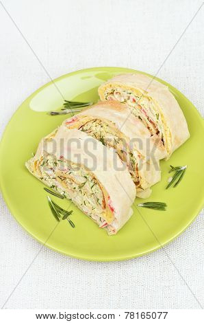 Lavash Rolls With Crab Meat, Cheese,eggs And Herbs