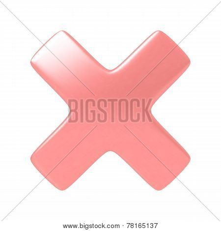 Red cancel cross sign.