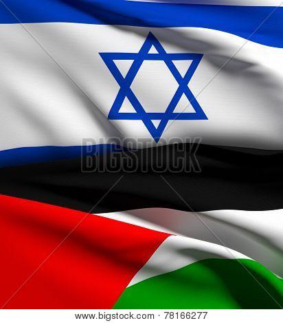Israel And Palestine Flag