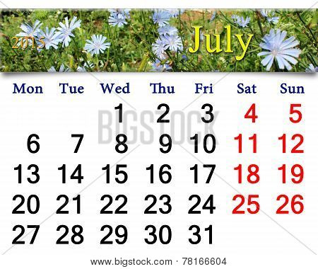 Calendar For The July Of 2015 Year With Flowers Of Cichorium