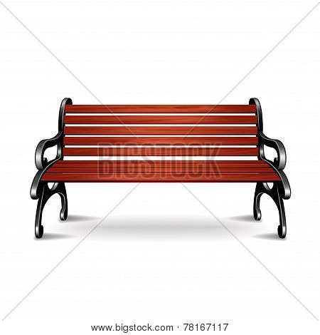 Wooden Bench Isolated On White Vector