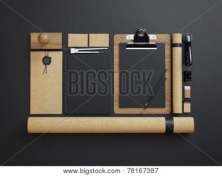 Set Of Craft Identity Elements On Black Paper Background