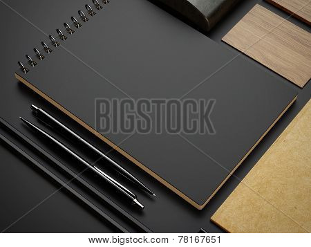 Craft And Black Branding Elements On Paper Background