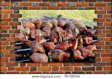 Appetizing Barbecue On The Fire Behind The Broken Wall