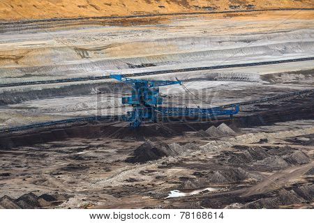 Industrial mining machine in mine